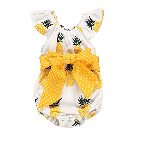 YOUNGER TREE Newborn Infant Baby Girl Clothes Pineapple Fruit Romper Bowknot Jumpsuit Summer Outfits Kids Bodysuit (Pineapple, 0-6 ()