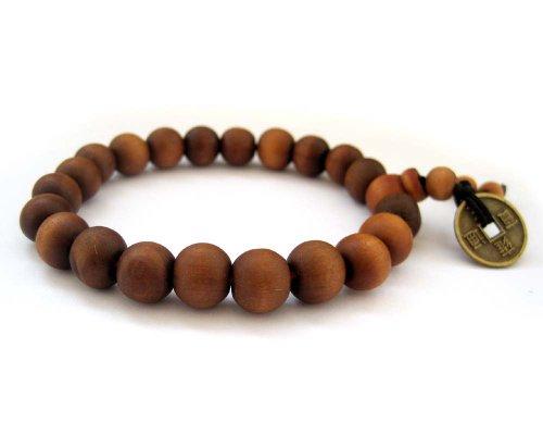 Tibetan 10mm Peach Wood Beads Buddhist Prayer Wrist Mala Bracelet (Beads Wood Peach)