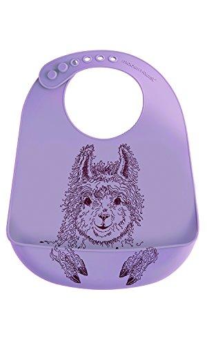 Modern Twist, 100% Pure Silicone Baby Bucket Bib, Llama, Lavender