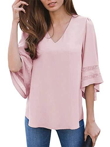 Umeko Womens Sexy V Neck Chiffon Blouses Tops Oversized Long Lantern Sleeve Pullover Shirts (Large, Z-Pink)