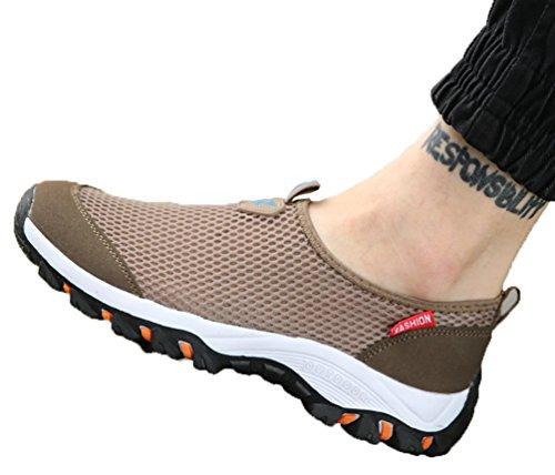 VECJUNIA Herren Atmungsaktive Slip-On Leichte Outdoor Laufschuhe Braun