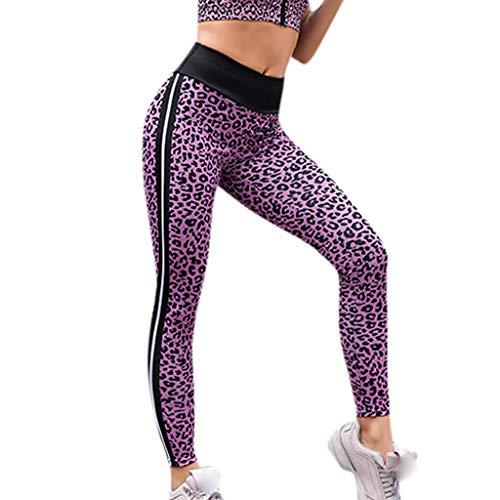 NUWFOR Women High Waist Yoga Leopard Wing Print Legging Running Sports Pants Trouser(Purple,L US Waist:27.6-30.7