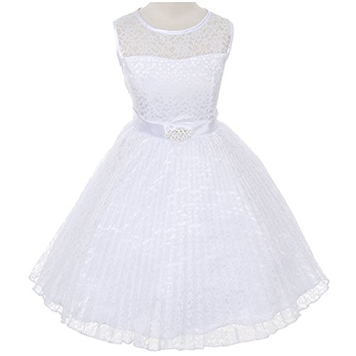 Big Girls Beautiful Floral Pattern Lace Pleated Skirt White - Size 12 (12 Flower Floral)