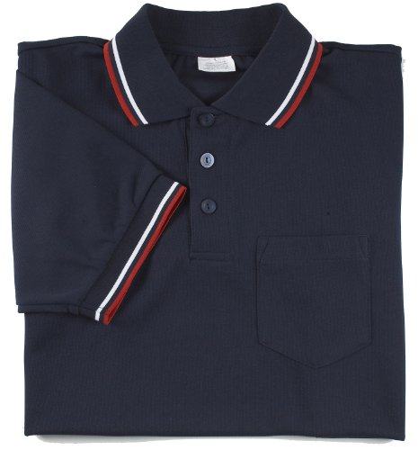 Adams USA Smitty Major League Style Short Sleeve Umpire Shirt with Front Chest Pocket (Navy, Large) (Baseball Umpire Shirt)
