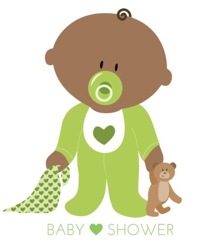 Baby Shower: Black baby in Green Activity journal, Message book, Guestbook, Journal, pregnancy, motherhood, mum, mother, dad, father, baby, girl, boy, ... 60 pages, illustrations, 8x10in (Volume (Mothers Memory Album)