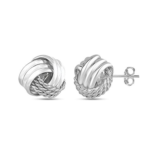LeCalla Sterling Silver Jewelry Italian Design Love Knot Stud Earrings for Women