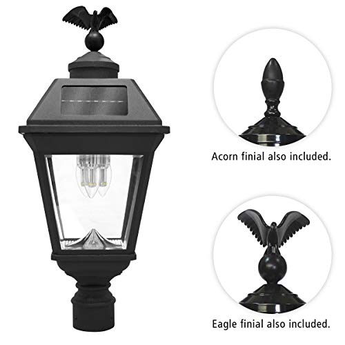 (GAMA SONIC Imperial Bulb Solar Post Lamp, Outdoor Solar Powered Light, Pole Post Mount, Black (GS-97B3-F))