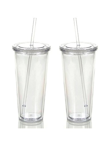 Reusable Double Wall Insulated Acrylic Tumbler Cups with Str