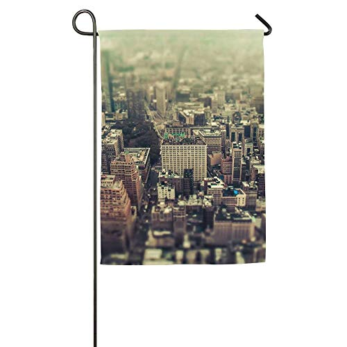 Skyline Building City Skyscraper New York Garden Flag Indoor & Outdoor Decorative Flags for Parade Sports Game Family Party Wall Banner 28x40 inches -