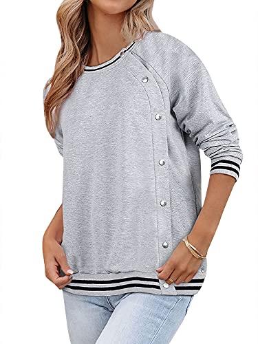 MYMOEW Womens Crewneck Sweatshirt Plus Size Button Up Striped Pullver Tops Grey