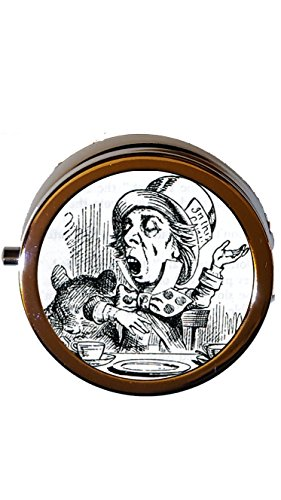 Mad Hatter Pill Box Alice in Wonderland Stocking Stuffer Jewelry Pendant Charm Gifts ()