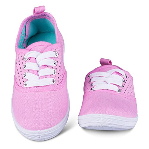 [K5002-PINK-Y1] Girls Canvas Sneakers - Lace Up Tennis Shoes, Youth Size 1 (That 70s Show Outfits)