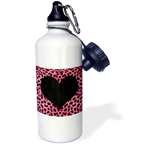 3dRose wb_20395_1 Punk Rockabilly Pink Cheetah Animal Print Black Heart Sports Water Bottle, 21 oz, White by 3dRose