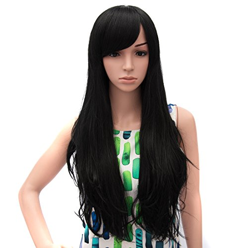 [Icoser® Sexy Women Black Hair Wig Synthetic Long Curly Wigs Cosplay Costume and a Wig Cap Black and a Hair] (Hollywood Celebrities Halloween Costumes)