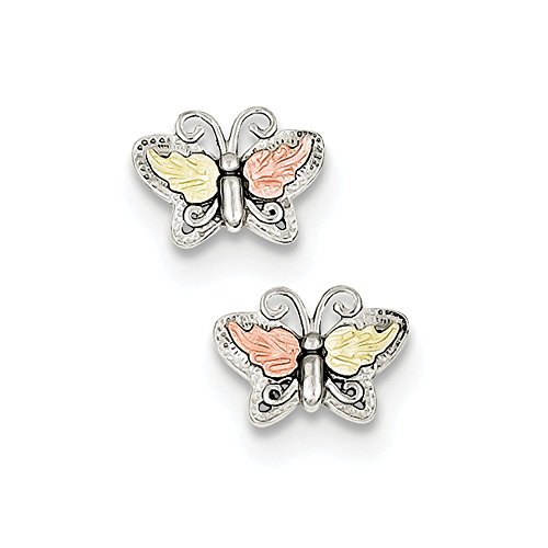 925 Sterling Silver 12k Butterfly Post Stud Earrings Animal Fine Jewelry Gifts For Women For Her ()