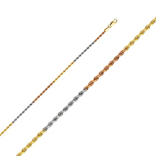 (Paradise Jewelers 14K Solid Gold 2.0mm Tricolor Rope Chain, Lobster Clasp (22 Inches))