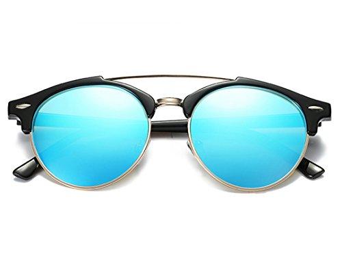YORFORMALS Semi-Rimless Round Polarized Sunglasses Black Frame/Blue - Sunglasses Teens For Cheap