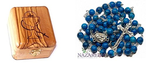 Bethlehem Gifts TM Olive Wood First Communion Jewelry Box with Rosary Set by (Beautiful Round Blue ()