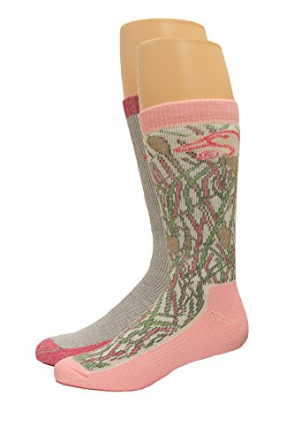 Ducks Unlimited Women's Wool Blend Boot Socks, Pink Camo, Medium