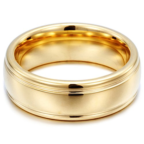 Mens Womens 7mm Tungsten Carbide Ring 18k Gold Grooves Wedding Engagement Promise Band for Her and His Comfort Fit ()
