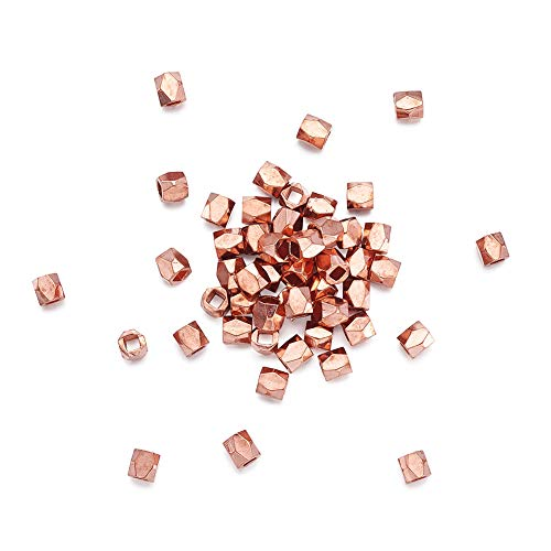 Pandahall 50pcs 3x3mm Faceted Rondelle Spacer Column Nugget Beads Rose Gold Cube Hole: 1.5mm for DIY Jewelry Making
