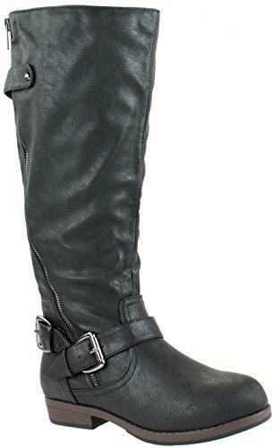 On Boots High Glaze Jasmine Shoes Slip Riding Women's with Knee Black 11 Buckles 0rwwXzTxq
