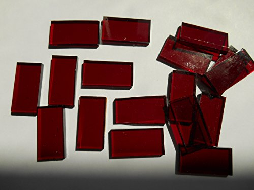 FortySevenGems 50 Pieces Red Stained Glass Mosaic Border Tiles 1/2-Inch x 1 Inch