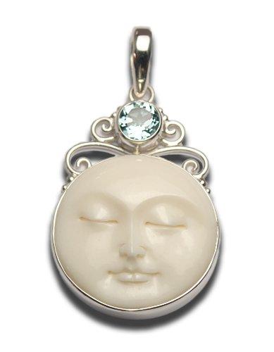 Serene Blue Topaz Moon Face Scrolled Pendant Sterling Silver 925 ()