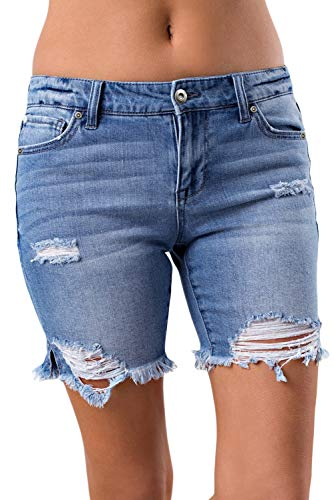 Distressed Denim Jeans Pants - CLOTPUS Women Mid Waist Skinny Shorts Ripped Jeans with Holes Distressed Denim Pants 079-5 M