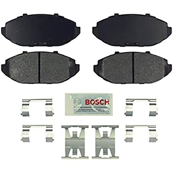 Bosch BE748H Blue Disc Brake Pad Set with Hardware for 1998-02 Ford Crown Victoria, Lincoln Town Car, and Mercury Grand Marquis - FRONT