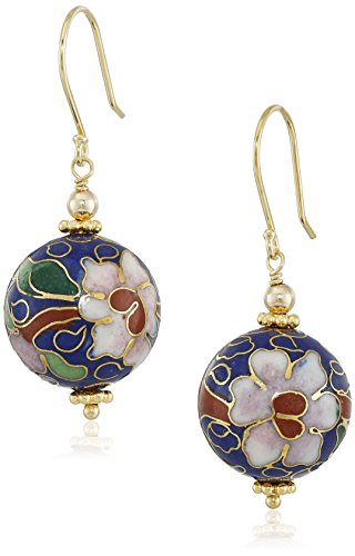 Porcelain Bead Earrings (Gold Plated Sterling Silver Blue Porcelain Round Bead Drop Earrings)