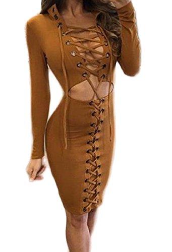 Magro Collare Del Basamento Bodycon Cavo Sexy Marrone Del Dalla Vestito donne Coolred Fasciatura 6AgEx
