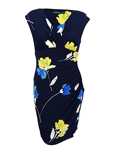(LAUREN RALPH LAUREN Womens Petites Floral V-Neck Sheath Dress Navy 14P)