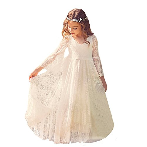Fancy Long Sleeves First Communion Dress 0-12 Year Old White Size 6