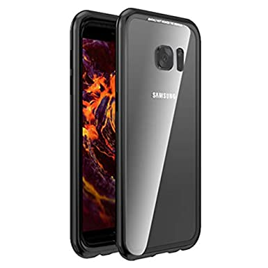 Galaxy S7 Edge Case,Shinetop Ultra Slim Thin Magnetic Adsorption Case Metal Frame Tempered Glass Back with Built-in Magnet Flip Cover [Support ...