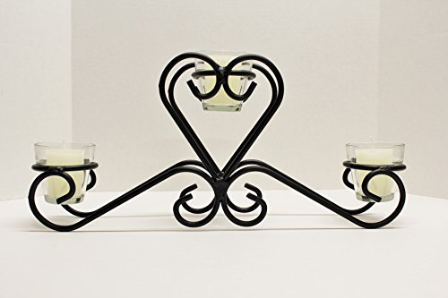 Wrought Iron Scroll Heart Votive Holder - Hand Made By Amish - Perfect Centerpice