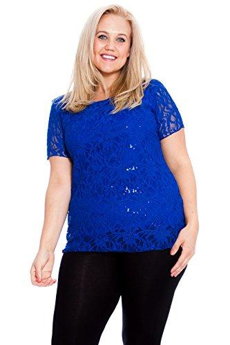 Nouvelle Collection. Womens Plus Size Top Ladies Floral Lace Sequin Detail T-Shirt Blouse Round Neck Short Sleeves Royal Blue US Size 20-22