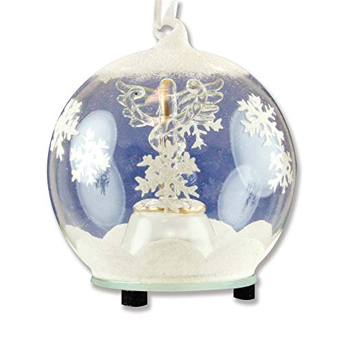 BANBERRY DESIGNS LED Caduceus Glass Globe Christmas Ornament Hand Painted Glittery Snowflakes and Snow Lighted Color Changing Nurses Day Gift