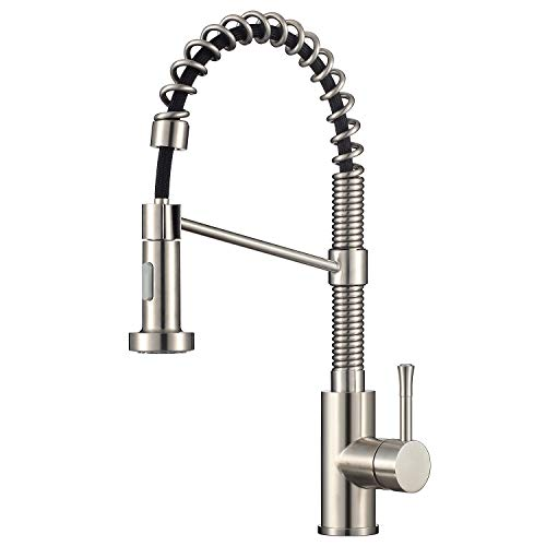 tchen Faucet Commercial with Dual Function Stainless Steel Sprayer Spring Single Handle Single Hole Stream and Spray, Brushed Stainless Steel. ()