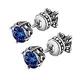 Beydodo Earrings Stainless Steel Blue Cubic Zirconia Earrings For Women Gothic Stainless Steel Earrings Men