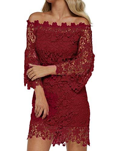 Auxo Women Off The Shoulder Floral Lace Long Sleeve Vintage Cocktail Party Dress Wine Red M