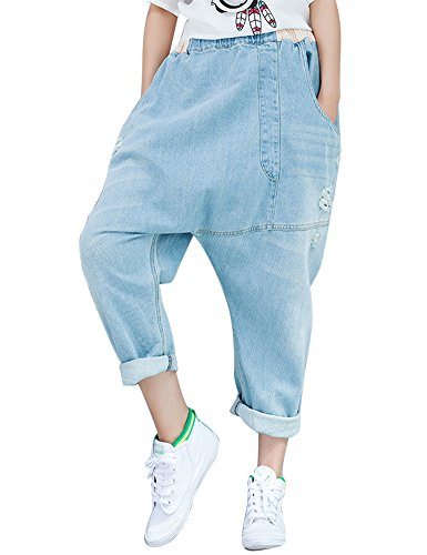 Women's Light Washed Harem Loose Ripped Jeans (Blue) - 3