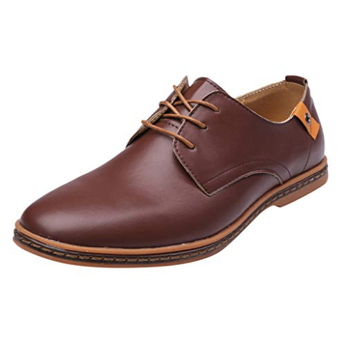 (KESEELY Formal Shoes Dress -Fashion England Men Shoes Lace Up Leather Wedding Shoes Male Business Shoes)