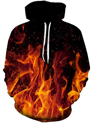 TUONROAD 3D Unisex Hoodies Jacket Shirt Red Orange Flame Fire Solid Black Novelty Athletic Outwear Sport Pullover Cool Big and Tall Cool Pattern Sweatshirt for Big Boys Girls Youth Adult Men Women (Leggings Black Flame)
