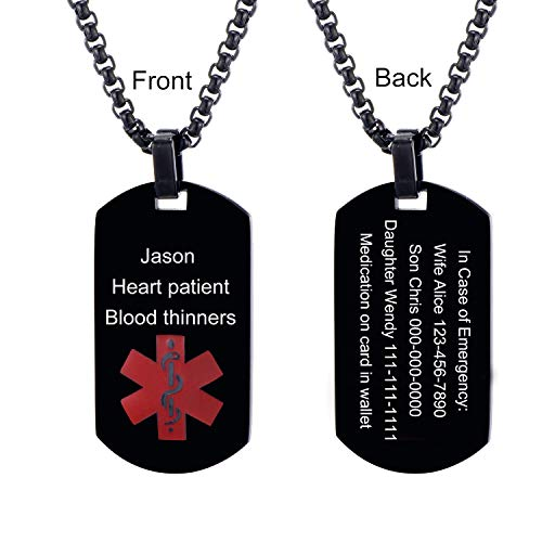 - LMXXV Customized Horizontal Engraving Medical Alert ID Black Stainless Steel Dog Tag Necklace,24
