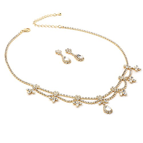 Topwholesalejewel Gold Crystal Rhinestone Flower Necklace and Matching Dangle Earrings Jewelry Set ()