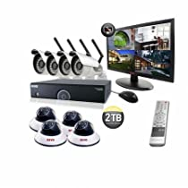 REVO America R165WB4ED4EM21-2T 16 CH 2 TB DVR Surveillance System with 4 Wireless Bullet Cameras, 4 Wired Dome Cameras and Monitor (Black)