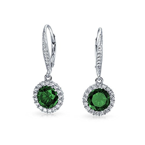 3.5CT Green Round Solitaire Halo CZ Leverback Dangle Earrings Simulated Emerald Cubic Zirconia 925 Sterling Silver ()