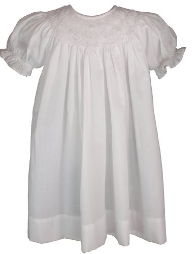 White Cotton Christening Baptism Smocked Bishops Gown