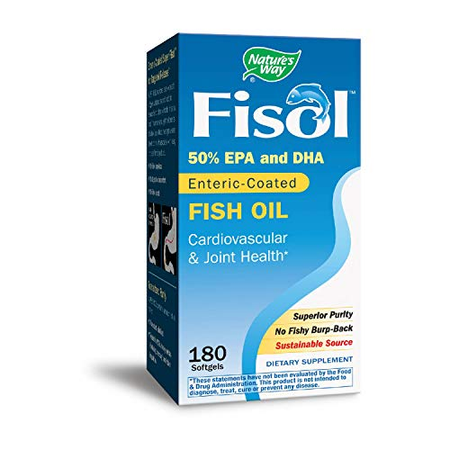 Oil Fisol Enteric Fish Coated (Nature's Way Super Fisol Enteric-Coated Fish Oil for Targeted Release, 70% EPA/DHA, 180 Softgels)